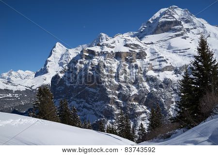 Eiger, Moench and Jungfau in the winter