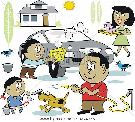 Happy family washing car cartoon