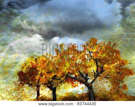 autumn trees-digital painting