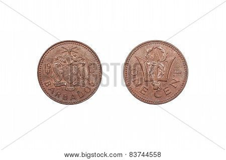 One Cent coin from Barbados 1981