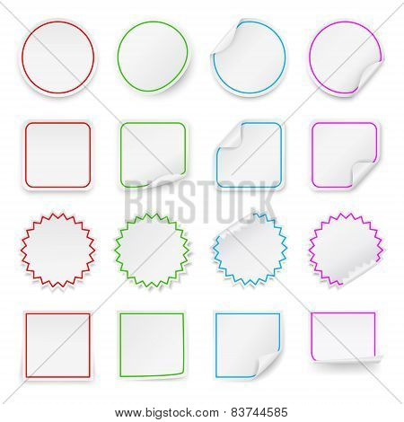 Set Of Vector Blank Stickers. Design Templates.