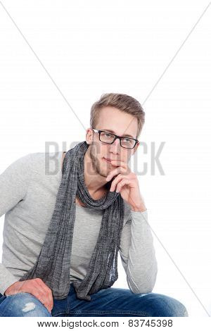 Young Man With Scarf Around His Neck On White Background