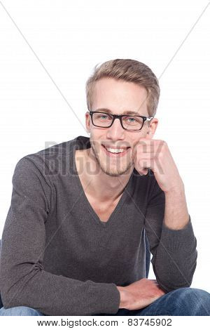 Smiling Young Handsome Guy Leaning On His Hand