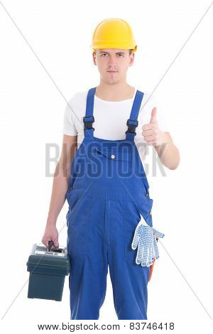 Man In Builder Uniform And Helmet With Toolbox Thumbs Up Isolated On White