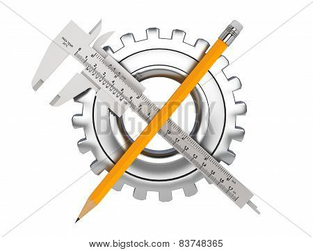 Metal Vernier Caliper With Pencil And Gear Wheel