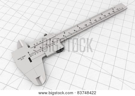 Metal Vernier Caliper Over Graph Paper