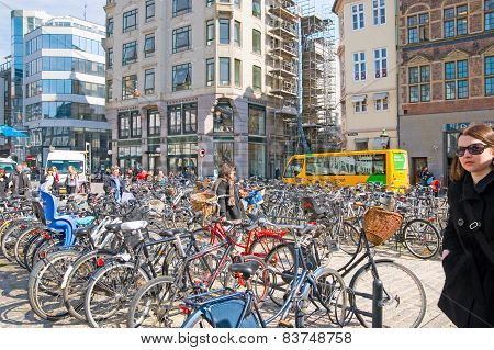 Denmark. Copenhagen. Bikes on High Bridge Square