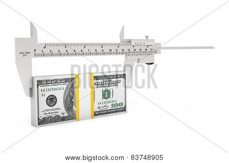 Metal Vernier Caliper With Dollar Notes