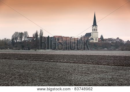Rural landscape at a frosty morning, Pfalz, Jockgrim, Germany