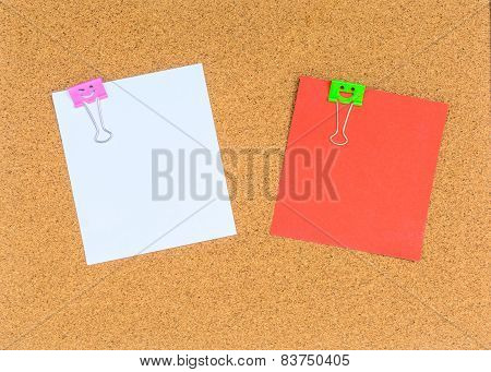 Blank Notes On Cork Notice Board