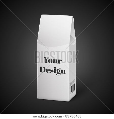 White Package Box Illustration Isolated On Black Background. Product Packing Vector