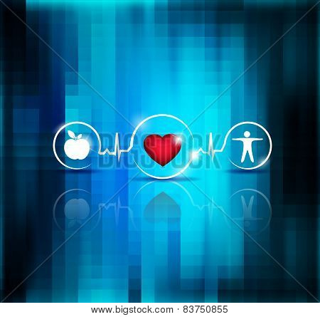 Physical Activity And Healthy Diet Prevents Heart Disease And Stroke, Symbols Connected With Heart B