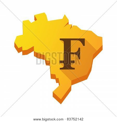 Yellow Brazil Map With A Swiss Franc Sign