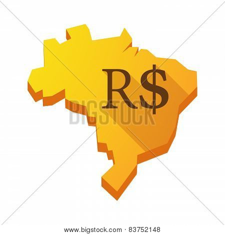 Yellow Brazil Map With A Brazilian Real Sign