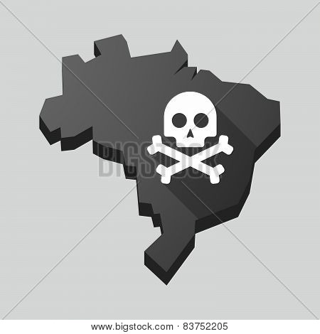 Brazil Map With A Skull