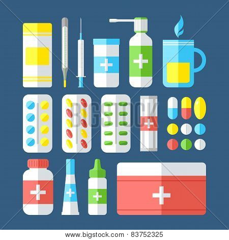 Medicines Isolated On Dark Background.