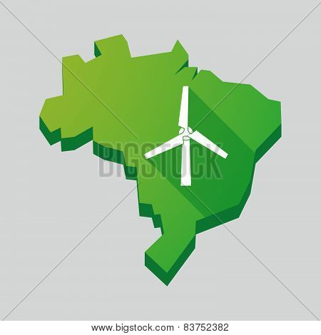 Green Brazil Map With A Wind Generator