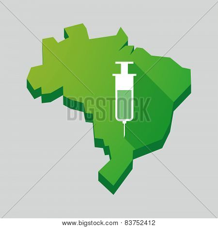Green Brazil Map With A Syringe