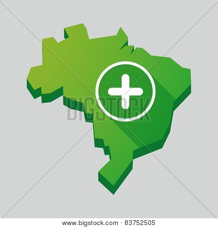 Green Brazil Map With A Sum Sign