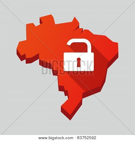 Red Brazil Map With A Lock Pad
