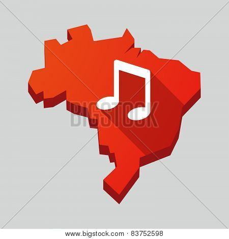 Red Brazil Map With A Musical Note