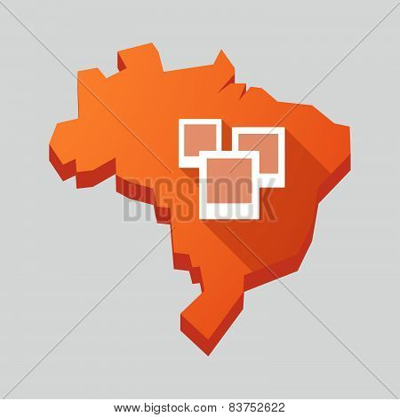Orange Brazil Map With A Group Of Photographs