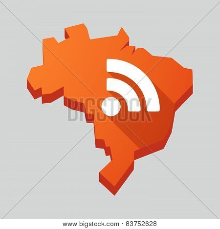 Orange Brazil Map With A Rss Feed Sign