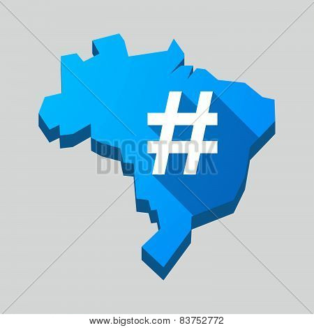 Blue Brazil Map With A Hash Tag