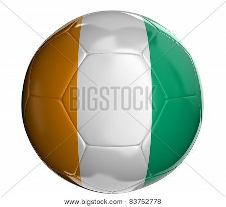 Soccer ball with Cote d'ivoire flag