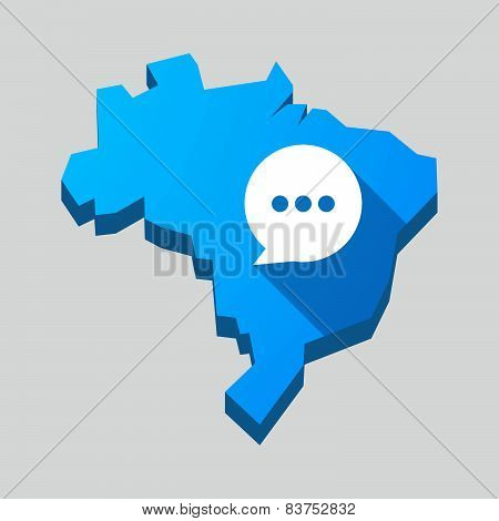Blue Brazil Map With A Comic Balloon
