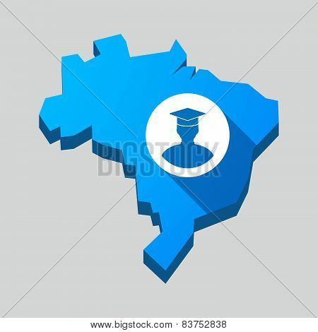 Blue Brazil Map With A Student Avatar