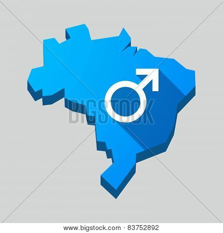 Blue Brazil Map With A Male Sign