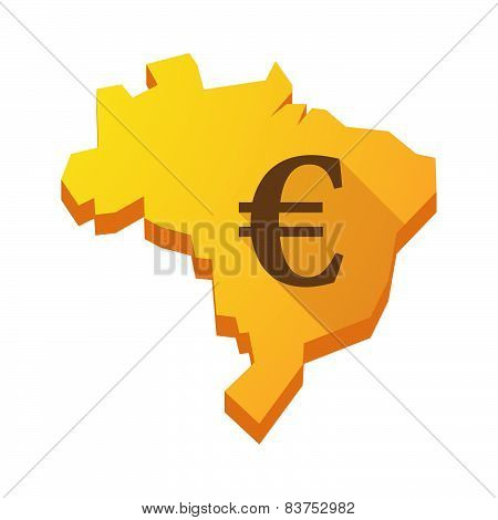 Yellow Brazil Map With An Euro Sign