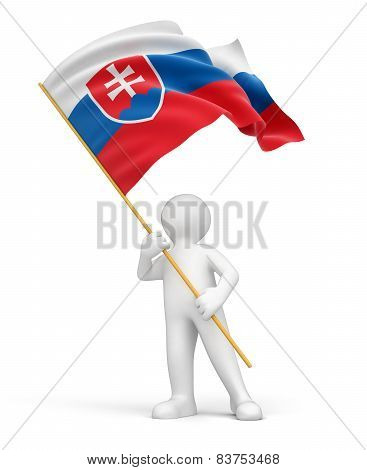 Man and Slovak flag (clipping path included)