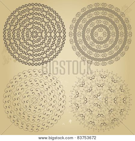 Set of four ethnic swirly round borders patterns on grunge