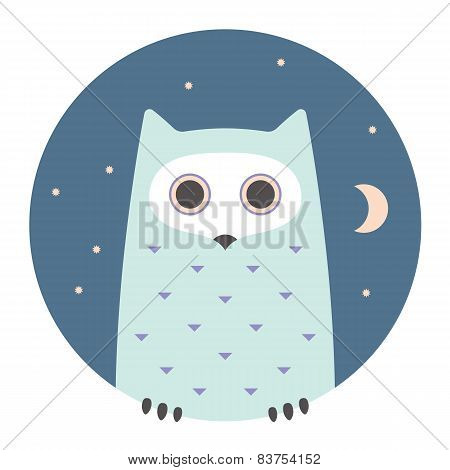 Animal set. Portrait in flat graphics - Owl