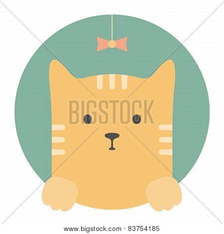 Animal set. Portrait in flat graphics - Red cat