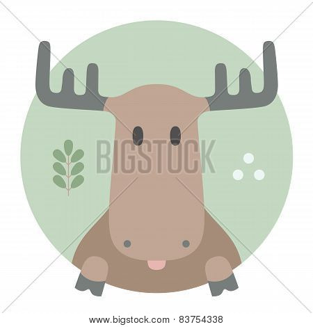 Animal set. Portrait in flat graphics - Moose