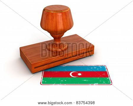 Rubber Stamp Azerbaijan flag (clipping path included)