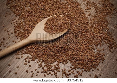 Buckwheat Groats On Wooden Spoon