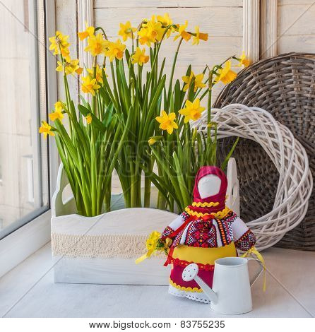 Daffodils In The Box And The Doll-motanka