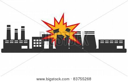 Explosion at the plant. Environmental disaster in the industry. Vector illustration