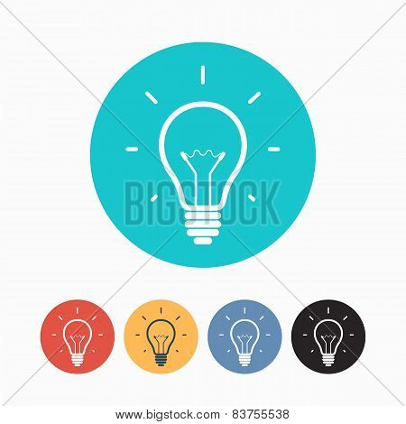 Set of simple colorful light bulb icons