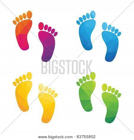 Colorful Human Footprints Composed Of A Triangle Isolated On A White Background