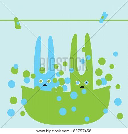 Bunnies In Bath