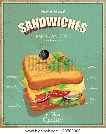 Sandwiches. Vector illustration. American style.