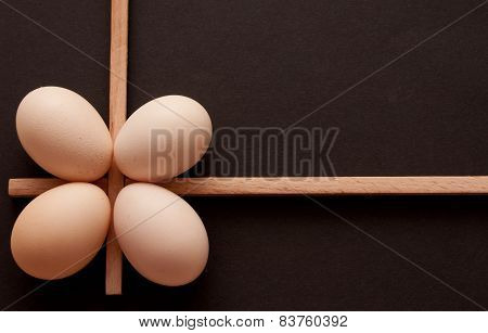 Eggseggs on a dark background in different angles