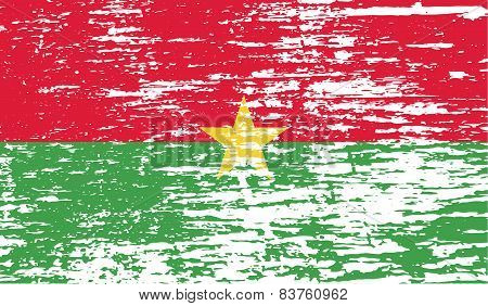 Flag Of Burkina Faso With Old Texture. Vector