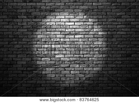Dimly Lit Old Brick Wall Enlightened Cone Of Light