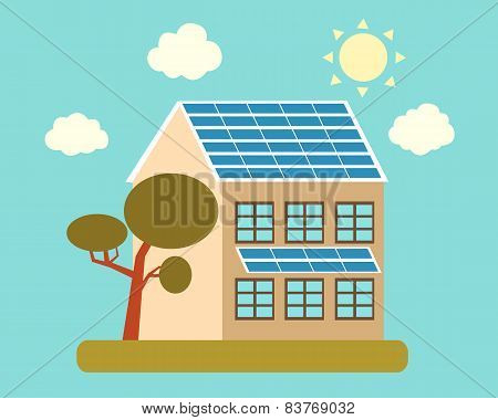 House with solar panels on the roof and a tree. Vector illustration